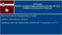CONCURS PENTRU ACHIZIȚIONAREA BUNURILOR PRIN METODA CERERII OFERTELOR DE PREȚURI